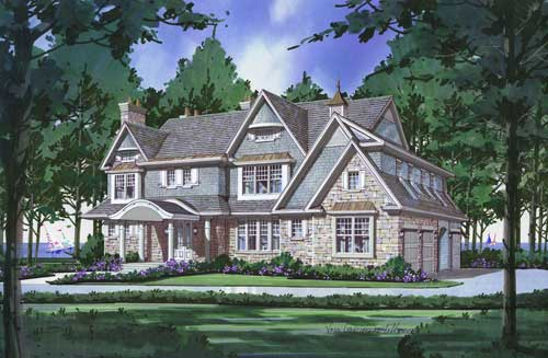 Color Drawing of Fox Point, WI Residence